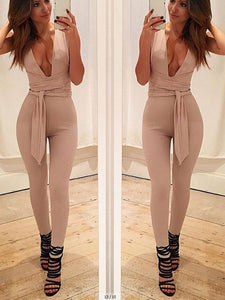 Deep V Neck Plain Sexy Sleeveless  Belt Jumpsuit
