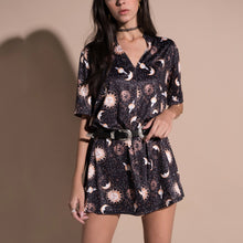 V-Neck Milk Silk Print A-Line Playsuit