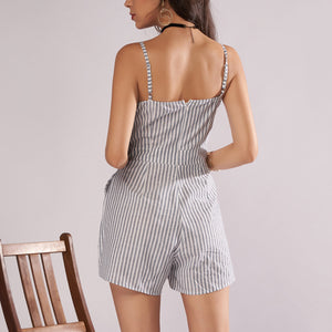 Sexy Striped Suspenders Shorts Fake Two Piece Suit Playsuit