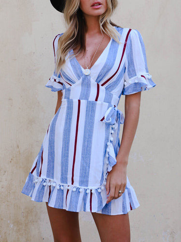 V-Neck Striped Bowknot Pompom-Trim Bell Sleeve Skater Dress