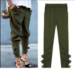 Pure Color Casual Strappy Trousers Pants