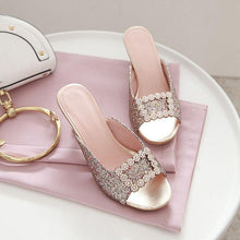 Square Buckle Rhinestone Sandals