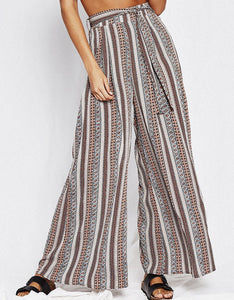 High Waist Print Wide Leg Pants With Loose Bandwidth Casual Trousers