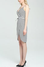Fashion Stripped Belt Sling Bodycon Dress