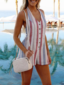 Rainbow Striped Short Jumpsuit