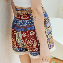 Tassel Hem Slim High Waist Shorts Pants