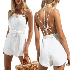 White Stylish Sleeveless Backless Rompers
