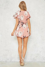 Stylish Floral Print Short Sleeves Rompers