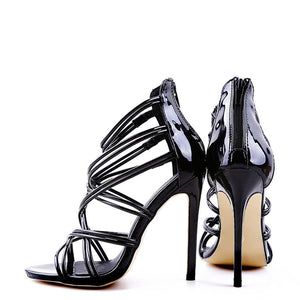 Sexy Pure Color Hollow Cross Strap Slim High Heel Sandals