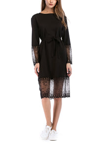 Fashion Round Collar Split Joint Lace Belt Shift Dress