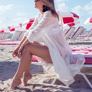 White Bikini Cover Ups Sunscreen Beach Vacation Dress