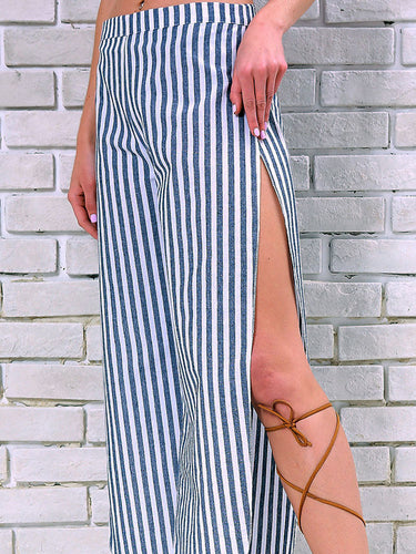 Striped Wide Legs Splits Waistband Sexy Casual Pants