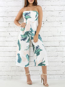One-Word Collar Banana Leaf Printed Wide Leg Jumpsuit
