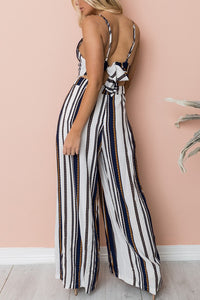 Fashion Stripe Sleeveless Jumpsuits