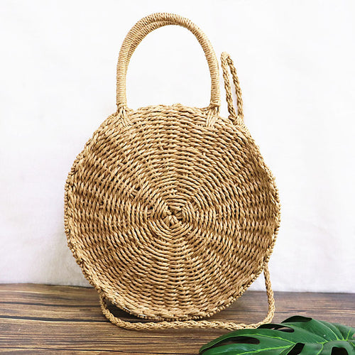 Women Straw Summer Beach Woven Bag Round Handbag Solid Vacation Shoulder Bag