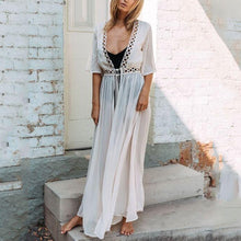 Sexy Pure Color Hollow Vacation Dress