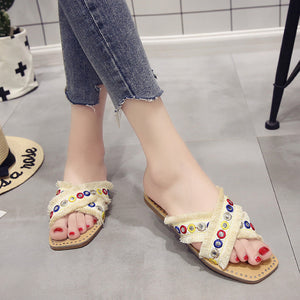 National Style Cross Strap Open Toe Sequins Flat Slippers
