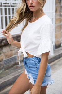 Fashion Bow Short Sleeve Blouse