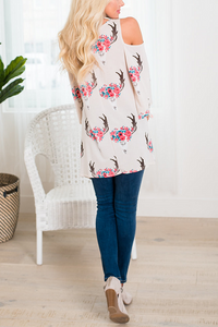 Sexy V Collar Loose Floral Printed Blouse