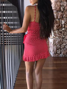 Summer Lotus Leaf Sling Mini Dress