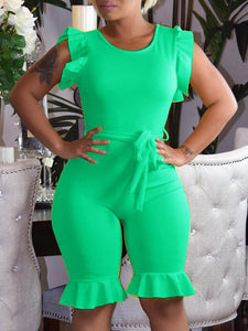 Round Neck Cuffs Jumpsuit