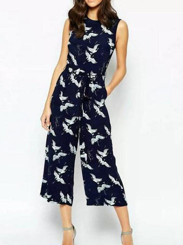 Crane Printed Wide-Length Waist Jumpsuit