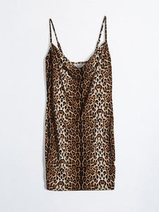 Leopard Print Sexy Strapless Mini Dress