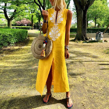 Cotton/Line Casual V-Neck Floral Printed Sunshine Dress Maxi Dress Floral Dress