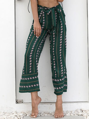 Printed Sexy Belt High-Waist Loose Casual Wide Leg Pants
