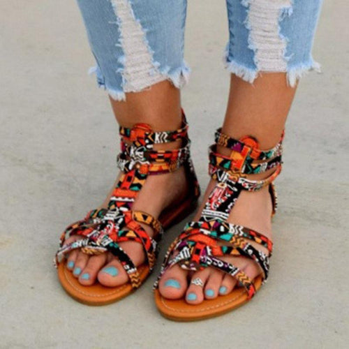 Color Buckle Flat Sandals