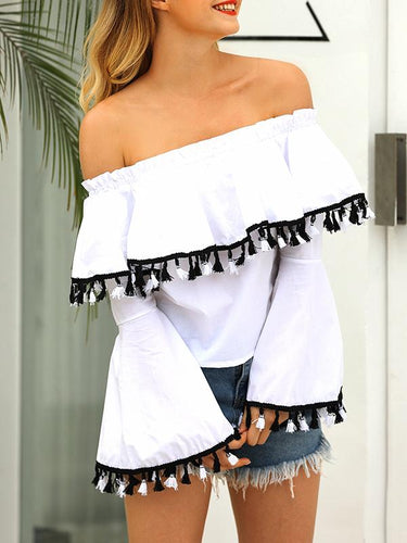 Off-Shoulder Sexy Flounced Tassel Trumpet Long-Sleeved Shirt