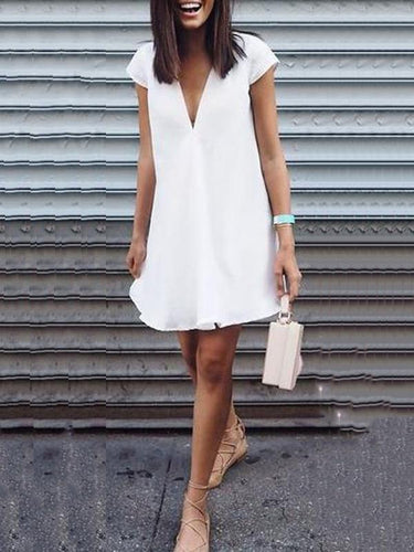 Pure Color Wild V-Neck Mini Dress