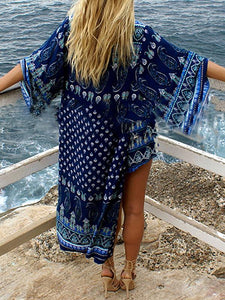 Printed Chiffon Long Cardigan