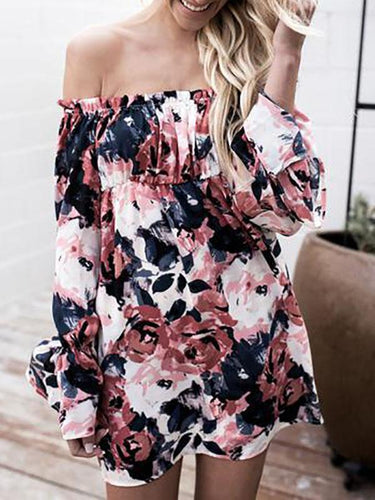 Ink Print Sexy Off-Shoulder Loose Long Sleeve Mini  Dress