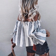 Stylish Off Shoulder Striped Shirt