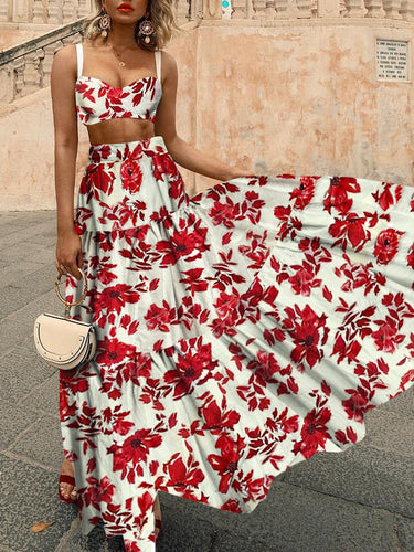 Sexy Midriff Baring Off Shoulder Floral Printed Maxi Dress
