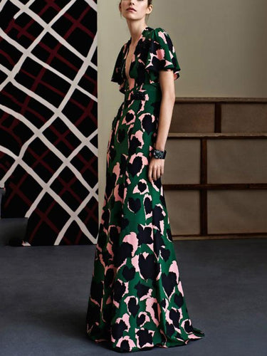 Sexy V-Neck  Love Printed Slim Party Maxi Dress
