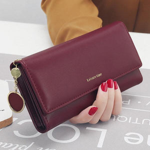 Women Faux Leather Solid Multi-Function Long Wallet 9 Card Slots Phone Clutch Bags