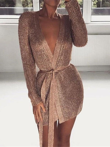 V-Neck Knit Cardigan Nightclub Sexy Mini Dress