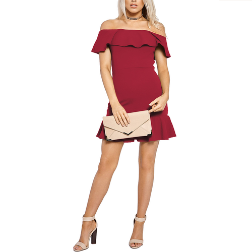 Solid Color Collar Off-Shoulder Ruffled  Mini Dress