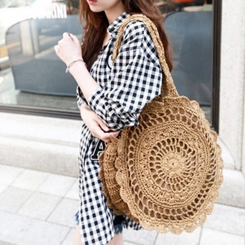 Women Casual Straw Light Beach Bags Travel Handbag Shoulder Bags