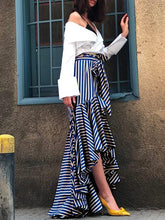 Strap Fishtail High Waist Striped Skirt