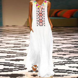 Cotton/Line Printed Casual Tassel  V-Neck  Maxi Dress