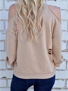 Long Sleeve Loose Strapless Hole T-Shirt Sweater