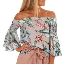 Sexy Fashion Off Shoulder Floral Printed Shirt