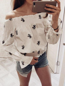 One-Necked Strapless Off-The-Shoulder Long Sleeve Shirt