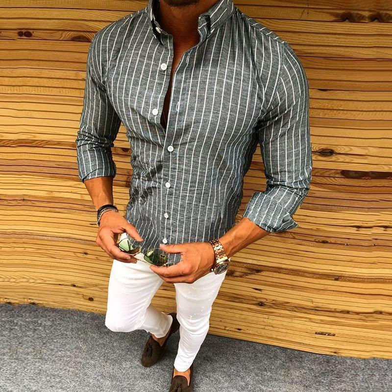 Men's Basic Striped Long Sleeve Shirt