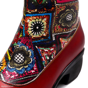 New Fashion Ethnic Style Retro Female Thick Heel Boots