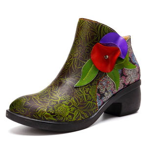 Cowhide Leather Ethnic Vintage Ankle Boots