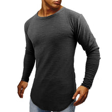 Men's Crew Neck And Round Hem Long Sleeve T-Shirt